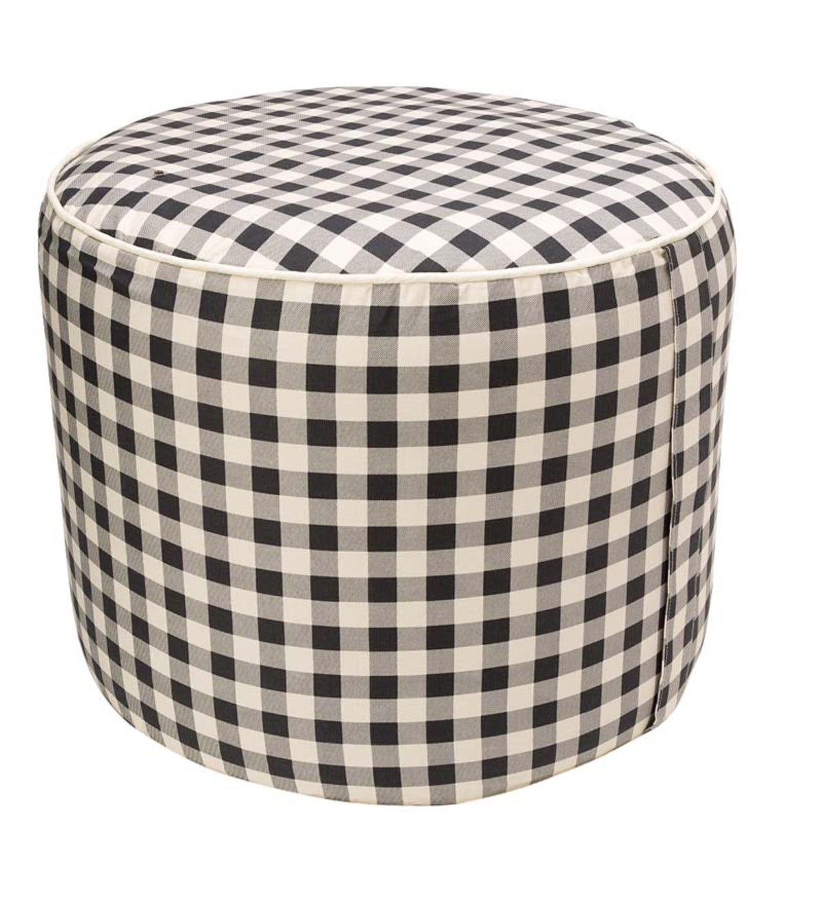 Large Round Inflatable Indoor Ottoman Pouf - Black Check