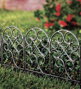 Classic Wrought Iron Garden Edging with Gunmetal Finish