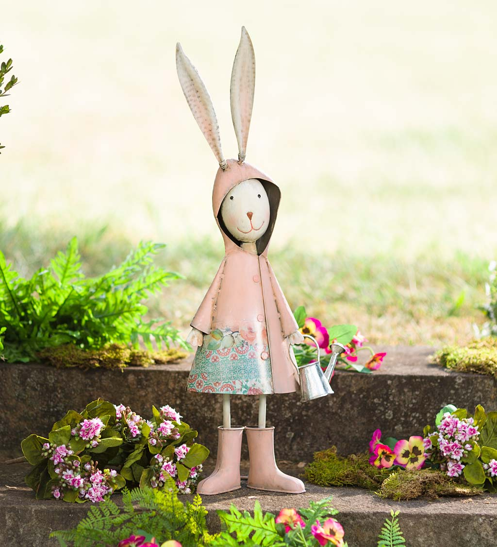 Metal Storybook Rabbit Garden Statue
