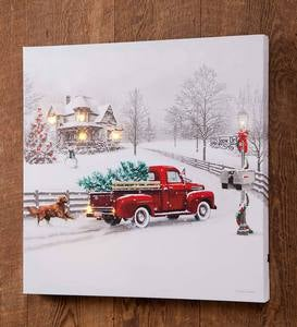 Lighted Christmas Truck Canvas Wall Art