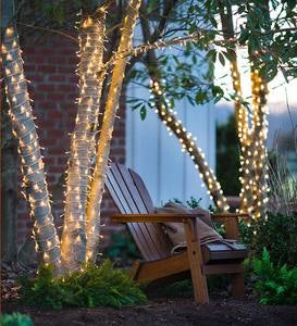 "White LED String Lights with Auto-Timer, 24'10""L with 96 lights - White"