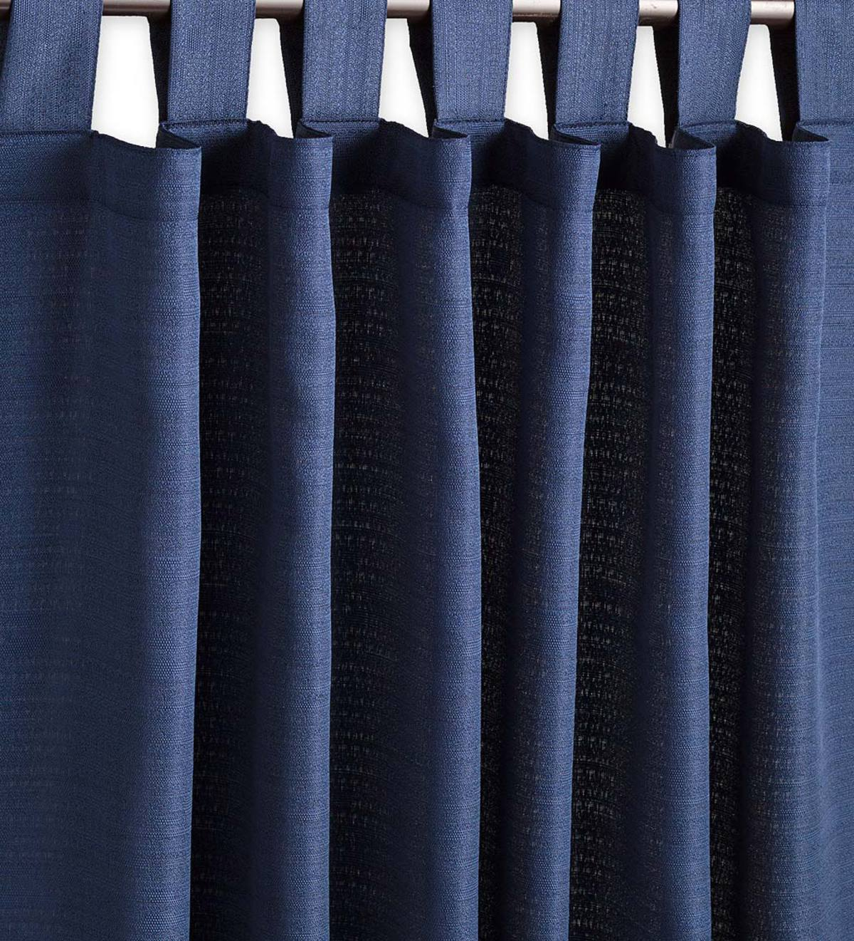 "Grasscloth Outdoor Curtain Panel with Tab Top, 54""W x 108""L - Navy Blue"