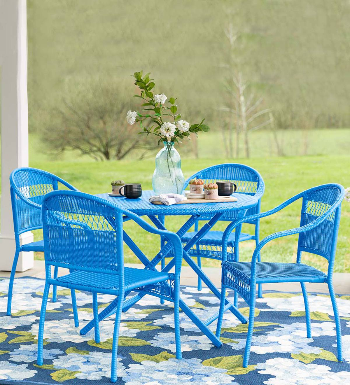 Tangier Wicker Folding Round Dining Table and 4 Stacking Chairs