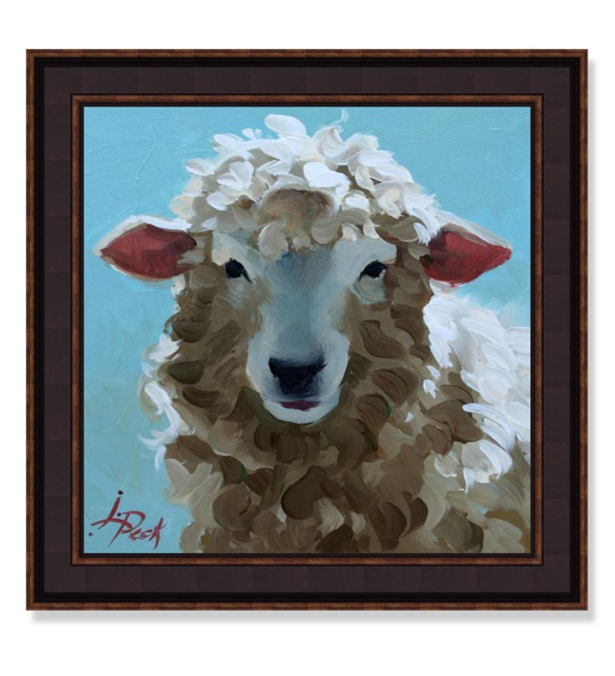 USA-Made Ba Ba Blue Sheep Framed Print By Leslie Peck