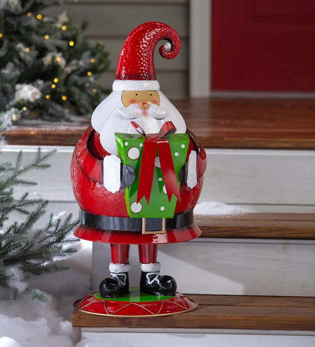 Santa Indoor/Outdoor Bobble Motion Metal Christmas Accent