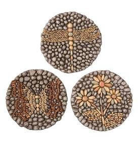 Resin Rock Stepping Stones, Set of 3