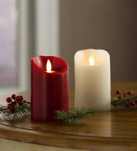 "LED Pillar Candle with Flicker Flame and Auto-Timer, 9""H - Red"