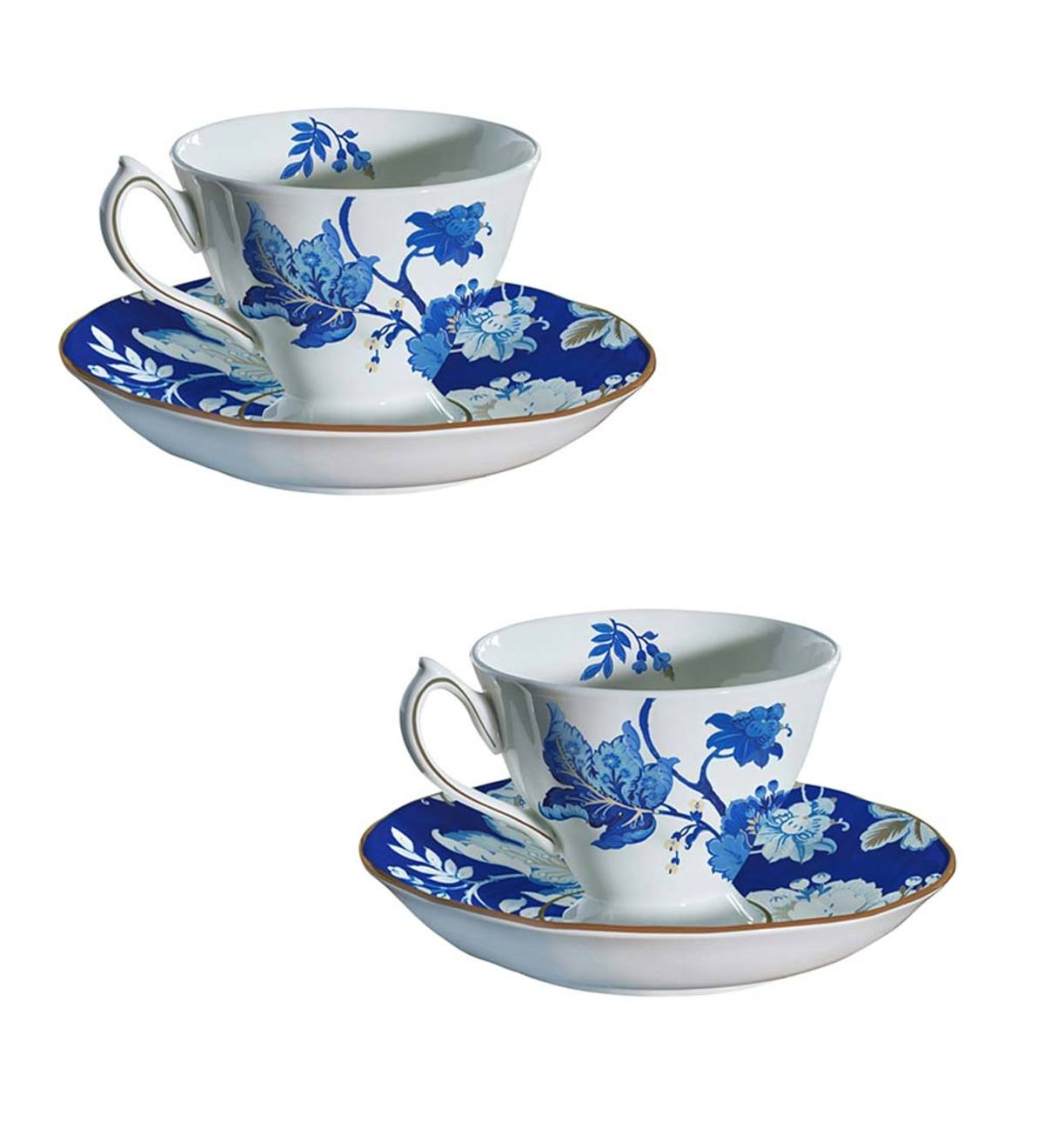 Blue Floral Bone China Cup and Saucer Set