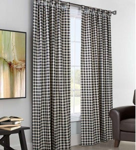 "84""L x 160""W Thermalogic™ Check Tab-Top Double-Wide Curtain Pair - Black"