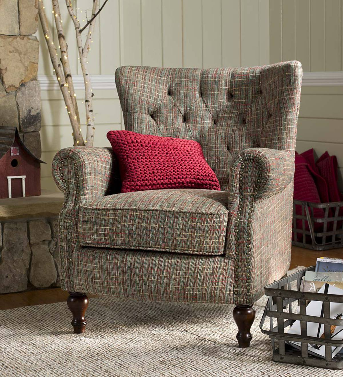Plow And Hearth Furniture: Madison Upholstered Wingback Chair - Tweed