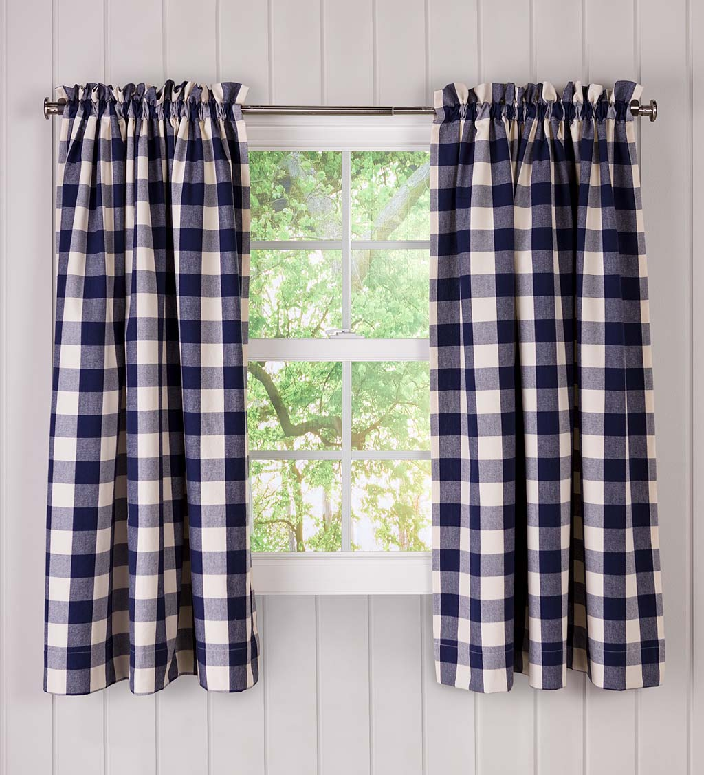 Buffalo Check Rod-Pocket Cotton Curtain Pairs