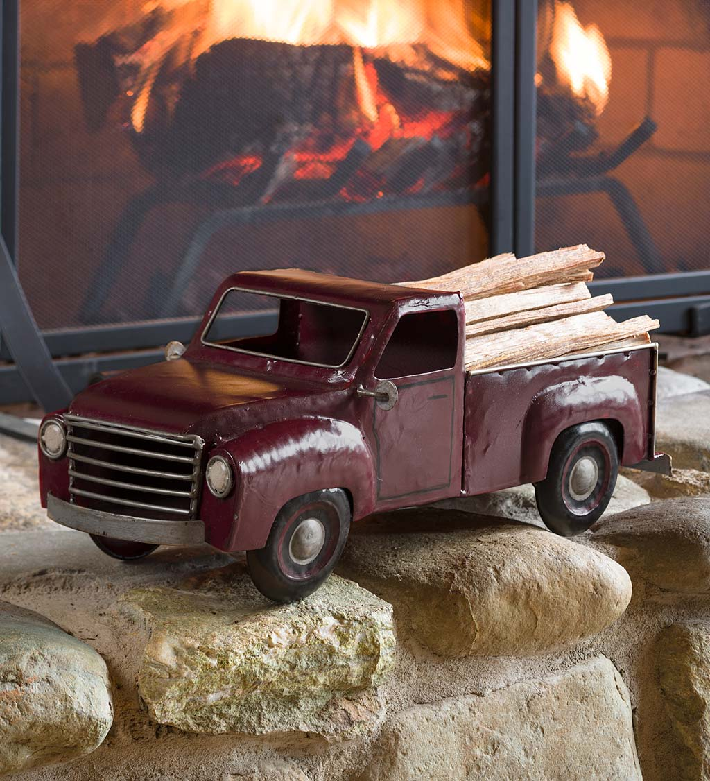 Red Metal Pickup Truck with 5 lbs. Fatwood