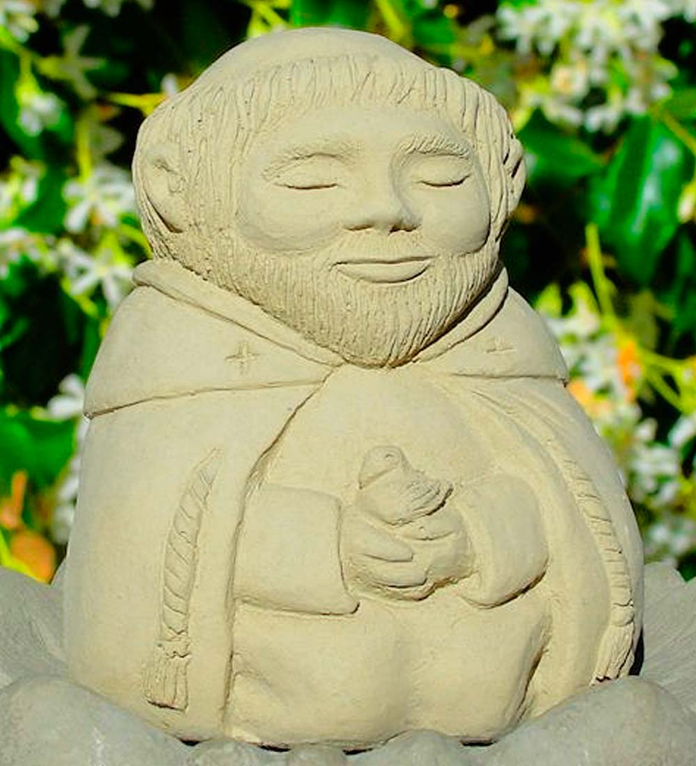 USA-Made Cast Stone Mediating St. Francis Garden Statue