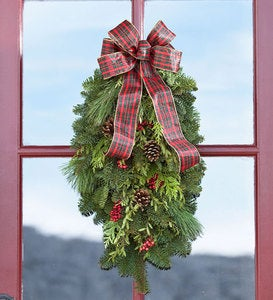 Holiday Woodland Evergreens Door Swag With Bow