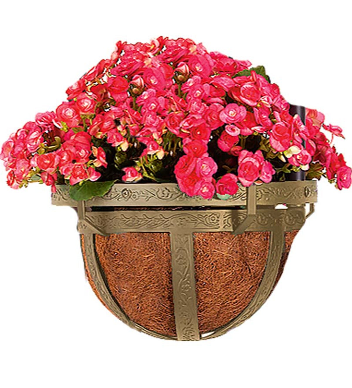 Coco-Lined Basket Planter For 8' Steel Garden Obelisk