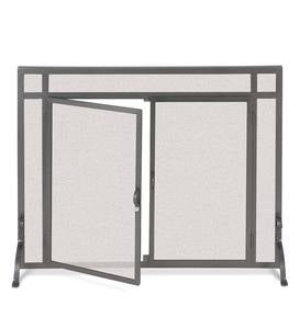 Large Custom Fireplace Screen, Flat Guard with Straight Doors