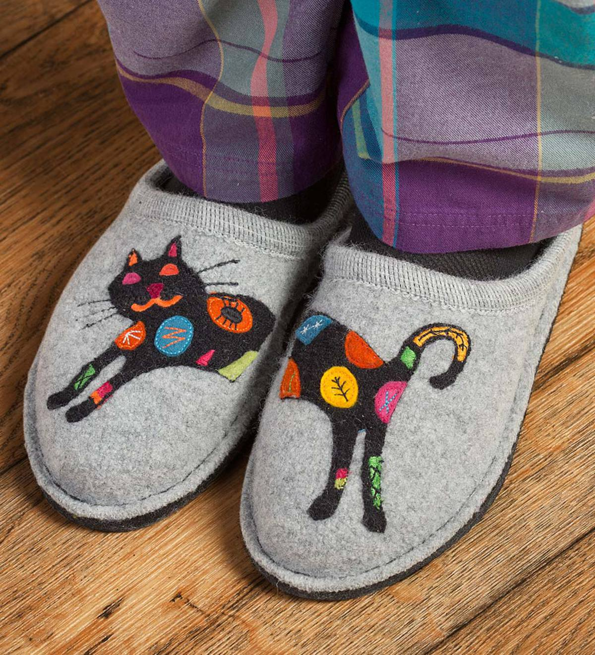 Women's Boiled Wool Cat Slippers with Non-Slip Soles - Size=Size 41