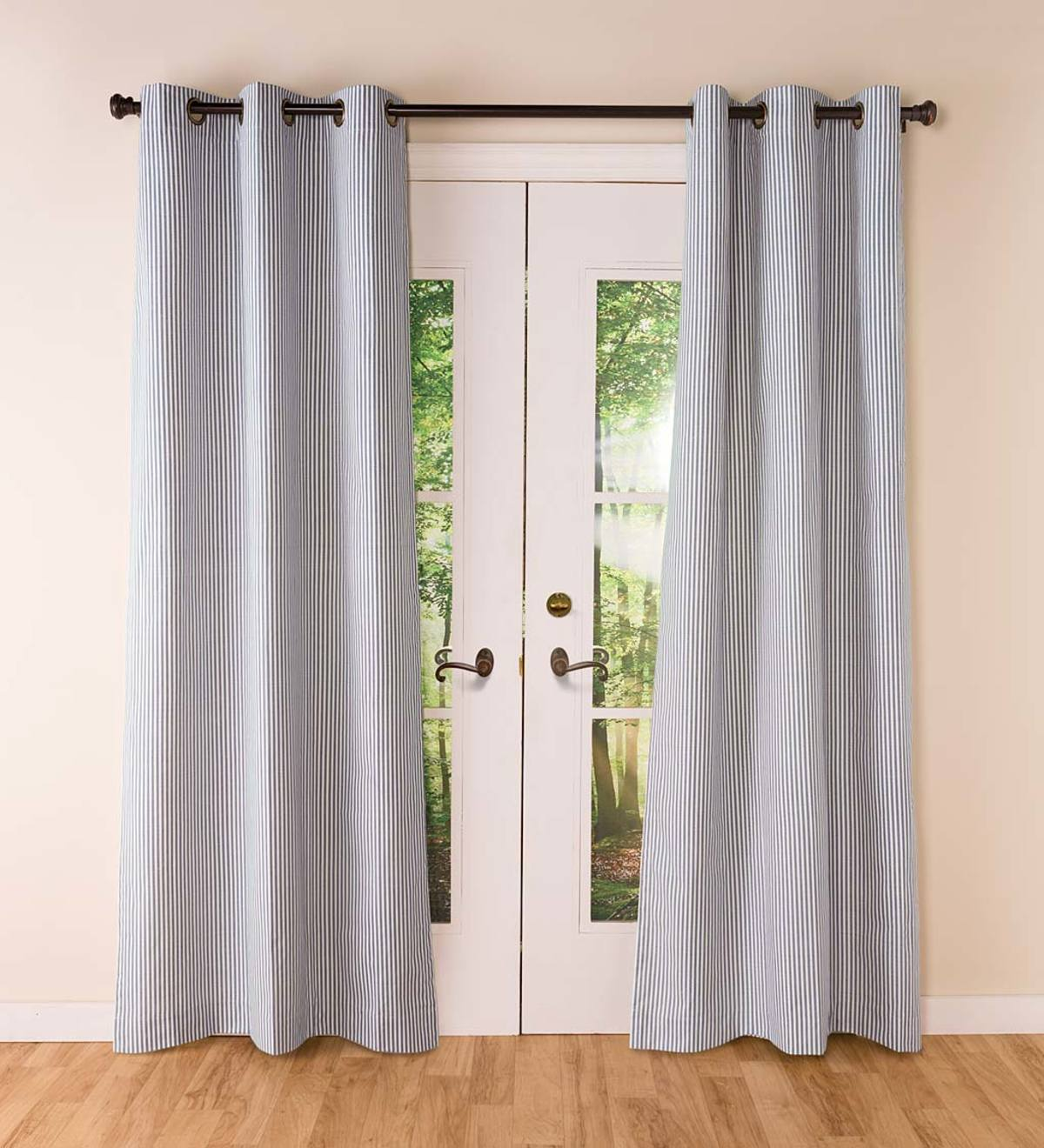 Thermalogic Insulated Ticking Stripe Grommet Top Curtain Pairs