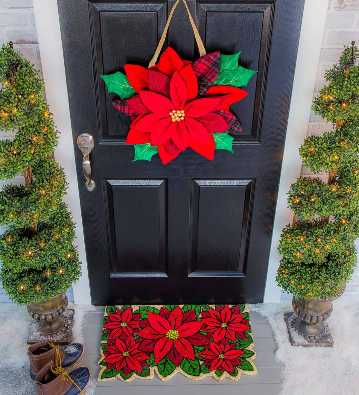 Poinsettia Door Decor Hanging Holiday Accent Plowhearth