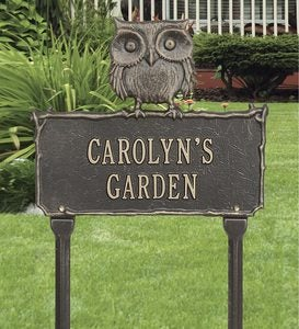 Personalized Cast Aluminum Owl Sign