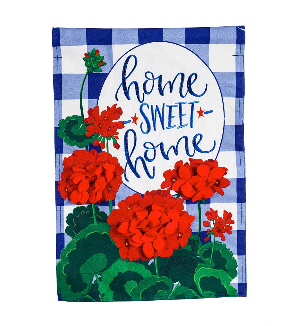 Geraniums Home Sweet Home Linen House Flag
