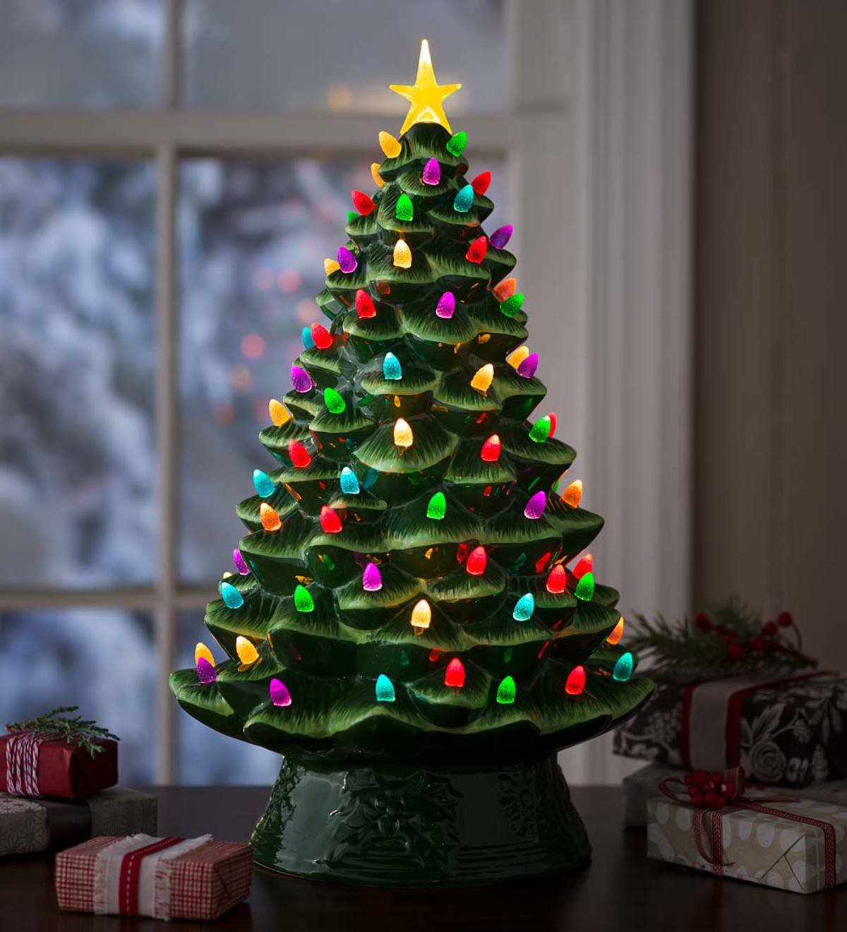 Lighted Ceramic Christmas Tree, Battery-Operated - Green ...