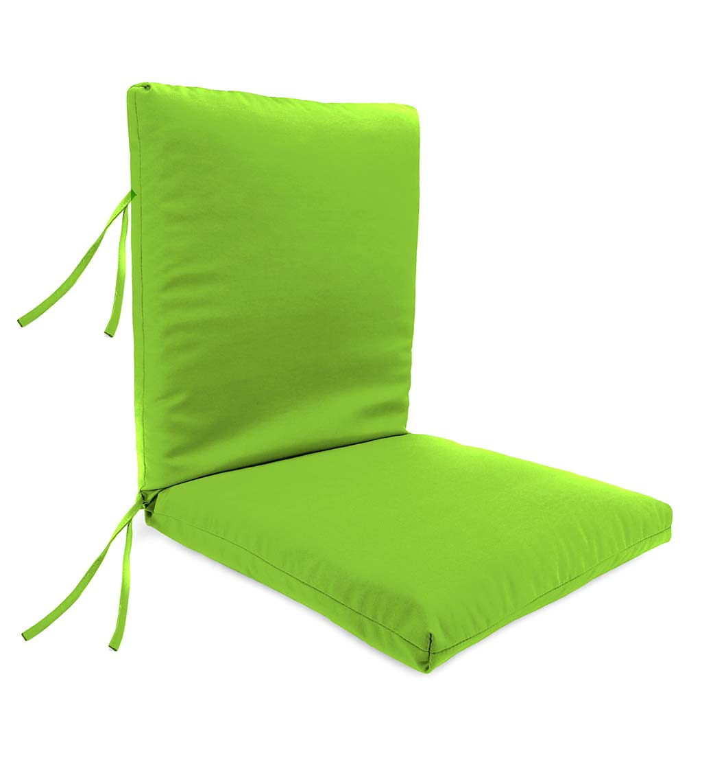 "Polyester Classic Large Club Chair Cushion With Ties, 44"" x 22"" with hinge 22"" from bottom"