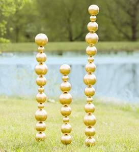 Metal Tower Garden Stakes With Multiple Sized Spheres, Set of 3