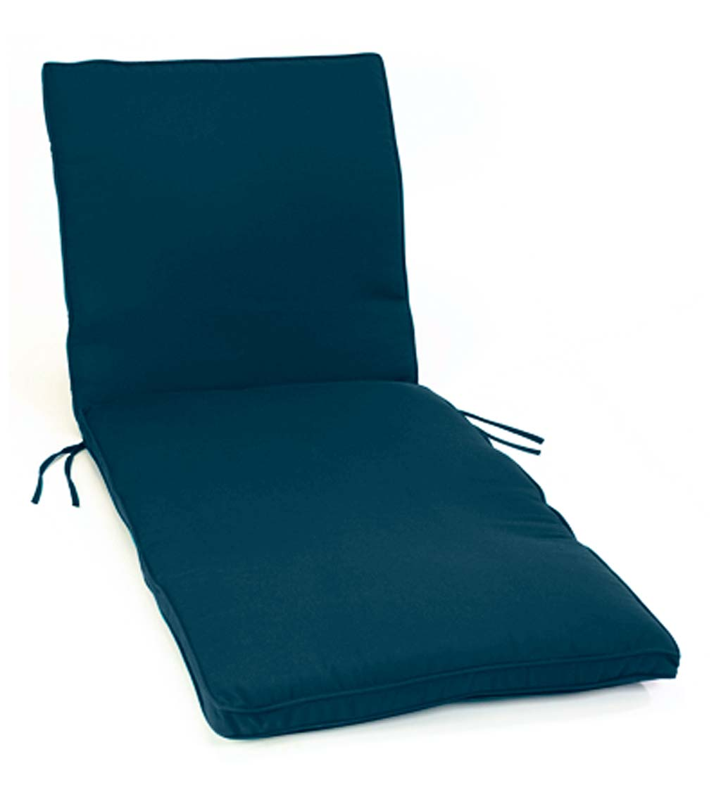 "Deluxe Sunbrella Chaise Cushion with ties 74¼"" x 23¼"" x 3¼"", hinged at 46"" from bottom"