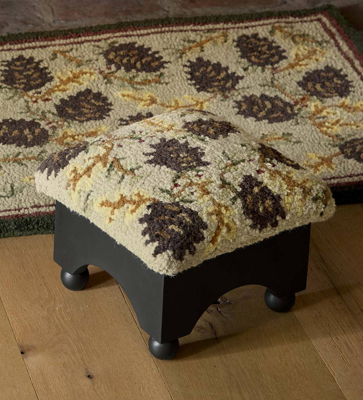 Upholstered Pine Cone Footstool