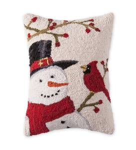 Snowman and Cardinal Hooked Wool Pillow