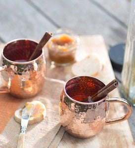 Hand Hammered Solid Copper Mugs, Set of 2