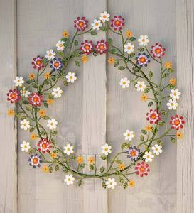 Painted Metal Wreath with Daisies