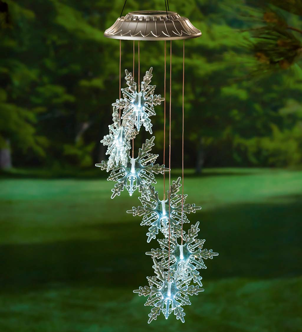 Clear Lighted Solar Snowflakes Mobile