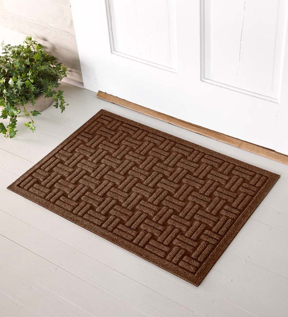 Oversized Basket Weave Waterhog™ Doormat, 3u0027 X 5u0027   Dark Brown