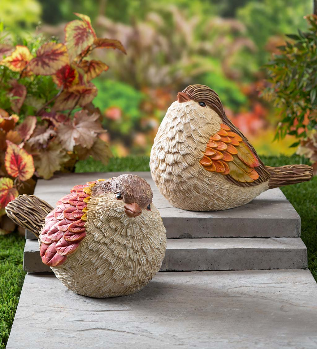 Autumn Bird Garden Statues, Set of 2