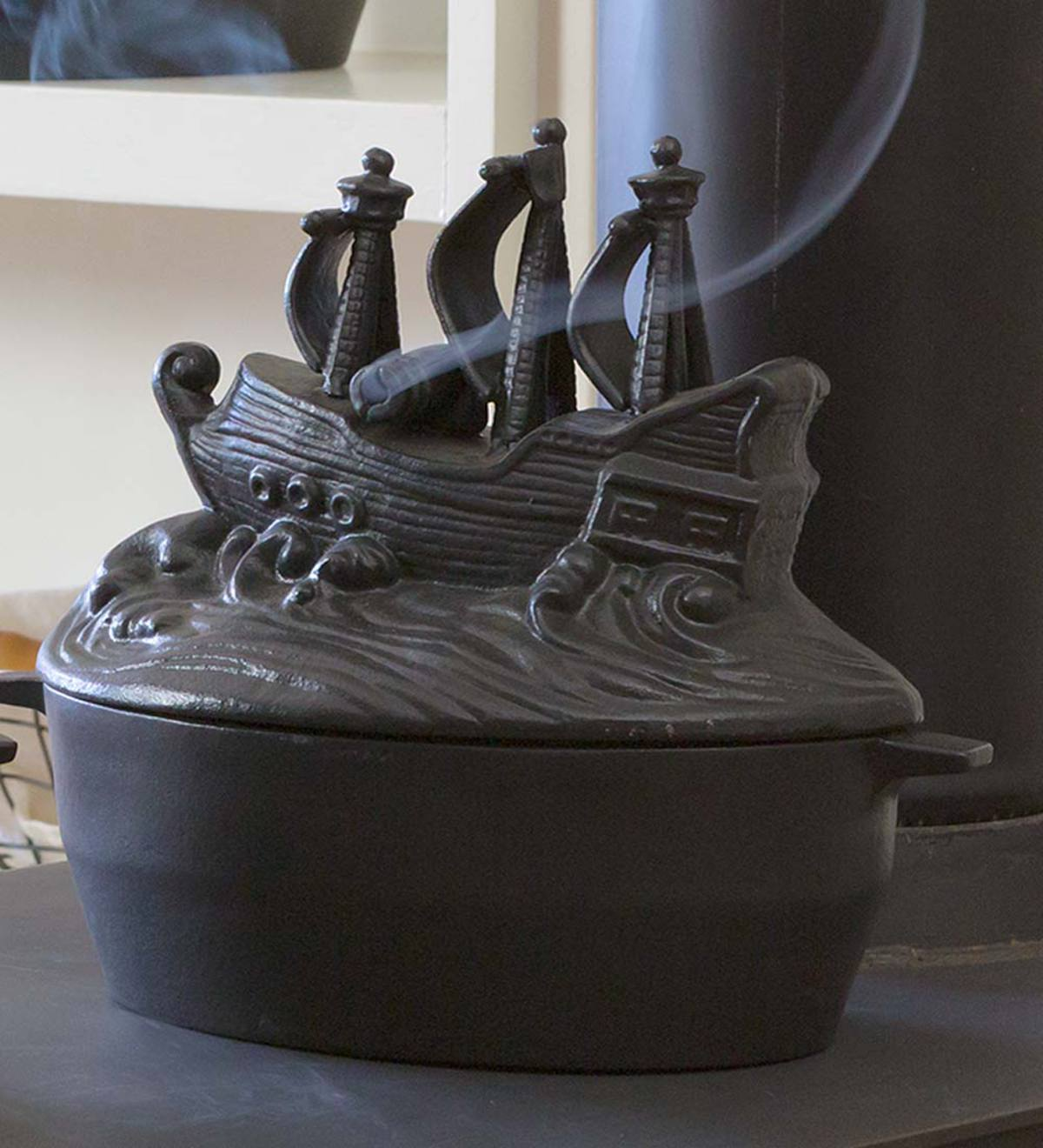Cast Iron Pirate Ship Wood Stove Steamer Plowhearth
