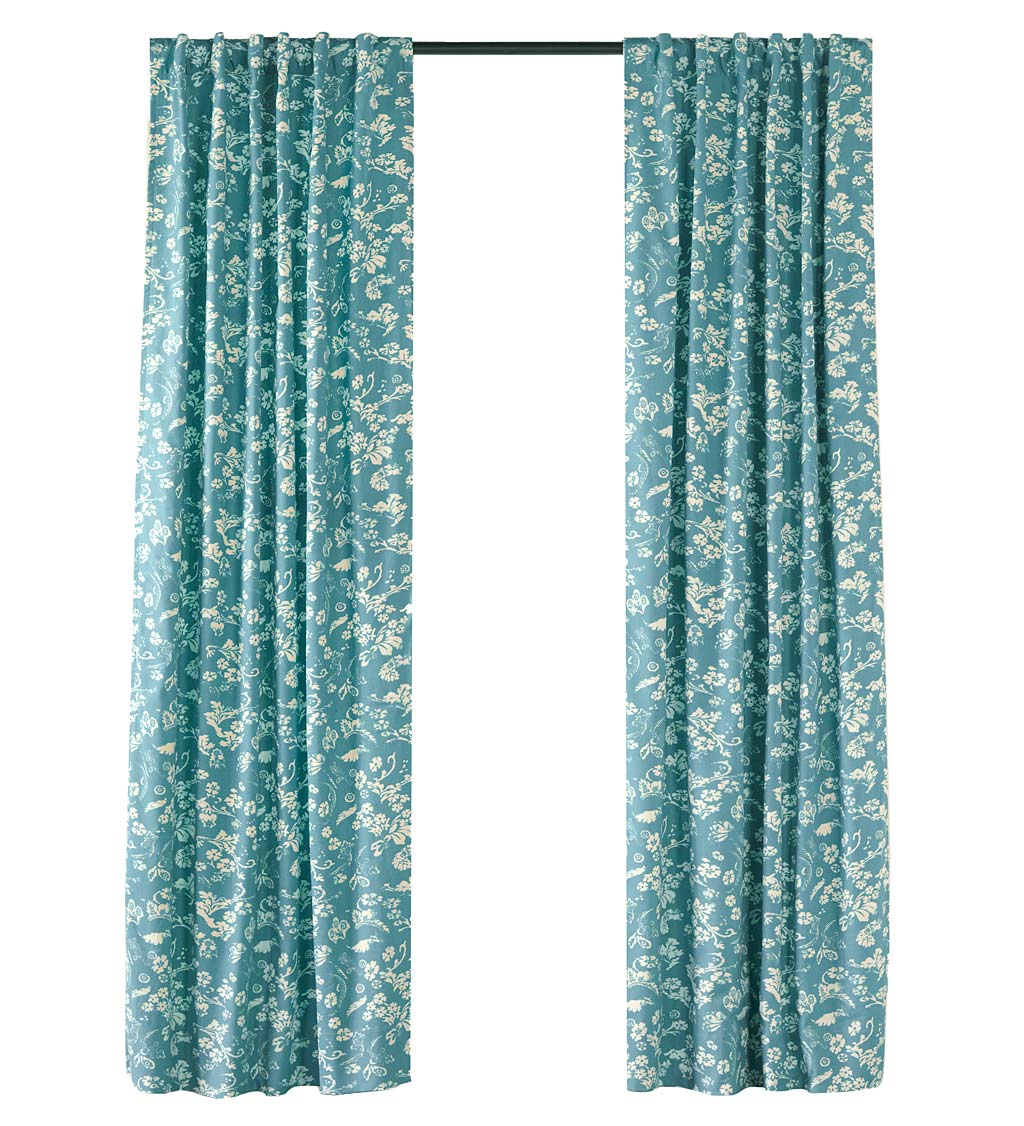 "Floral Damask Rod-Pocket Homespun Insulated Curtain Panel, 42""W x 84""L - Blue"