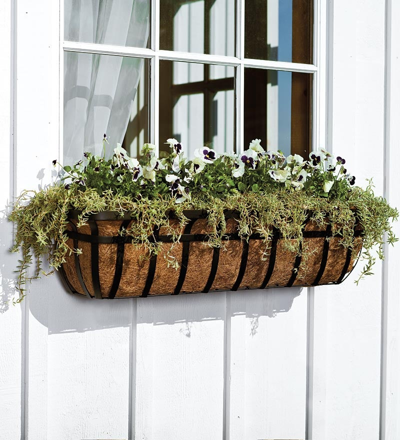 English Hay Basket Planters with Coco Liners