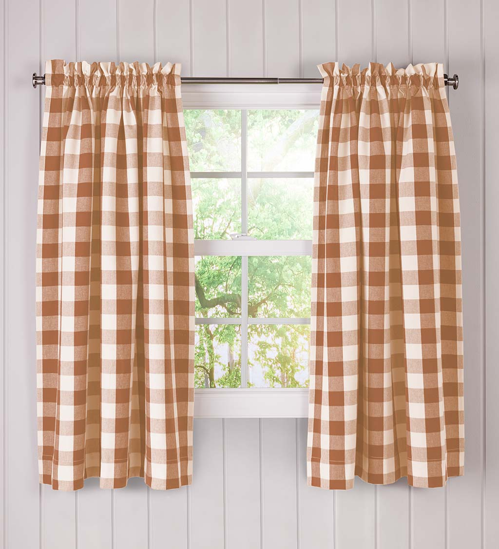 "Buffalo Check Rod-Pocket Cotton Curtains, 45""L Pair"