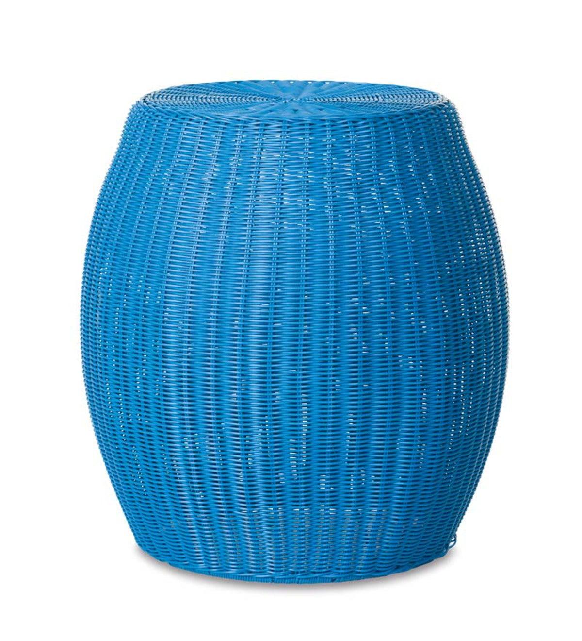 Small Outdoor Wicker Ottoman Pouf Blue Plowhearth