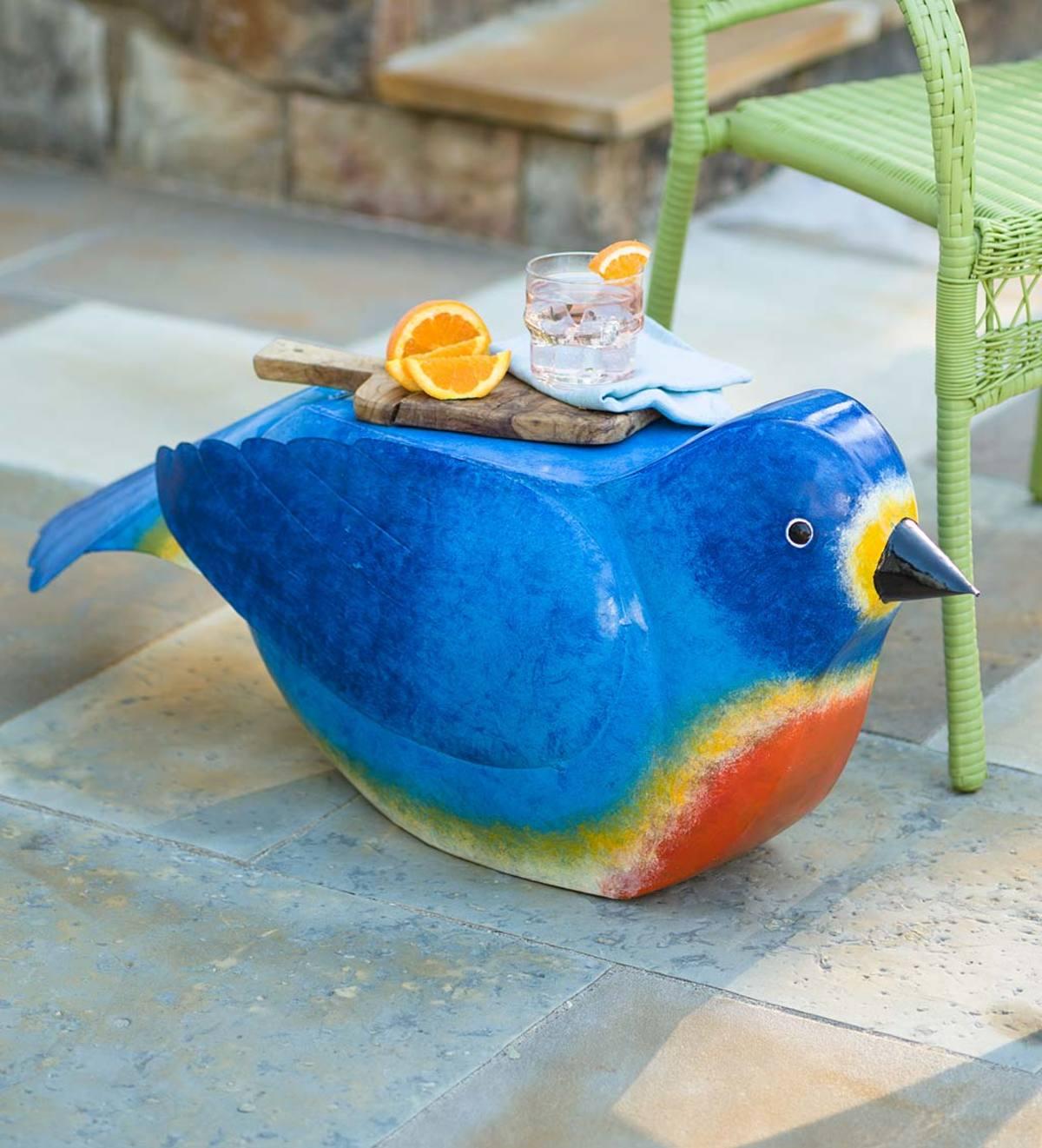 Handmade Painted Metal Bluebird Side Table