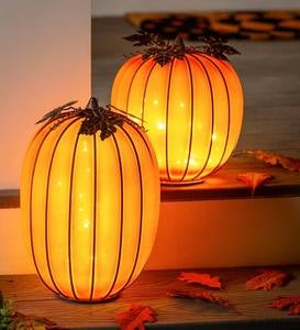 LED Orange Misted Glass Pumpkins, Set of 2