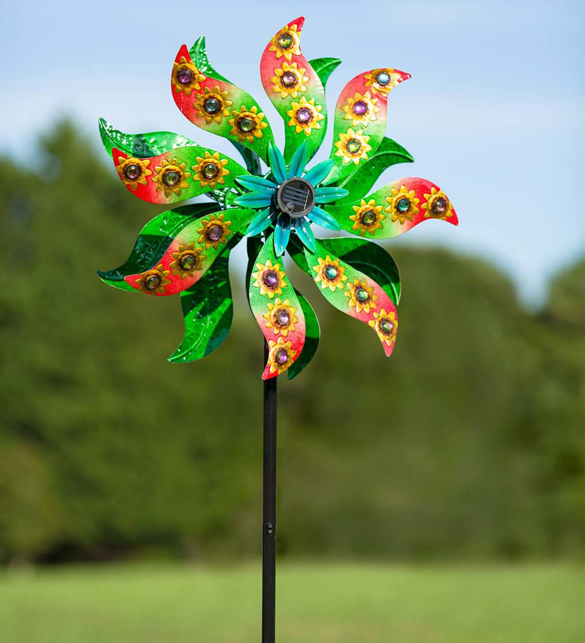 Solar Sunflower Gems Wind Spinner