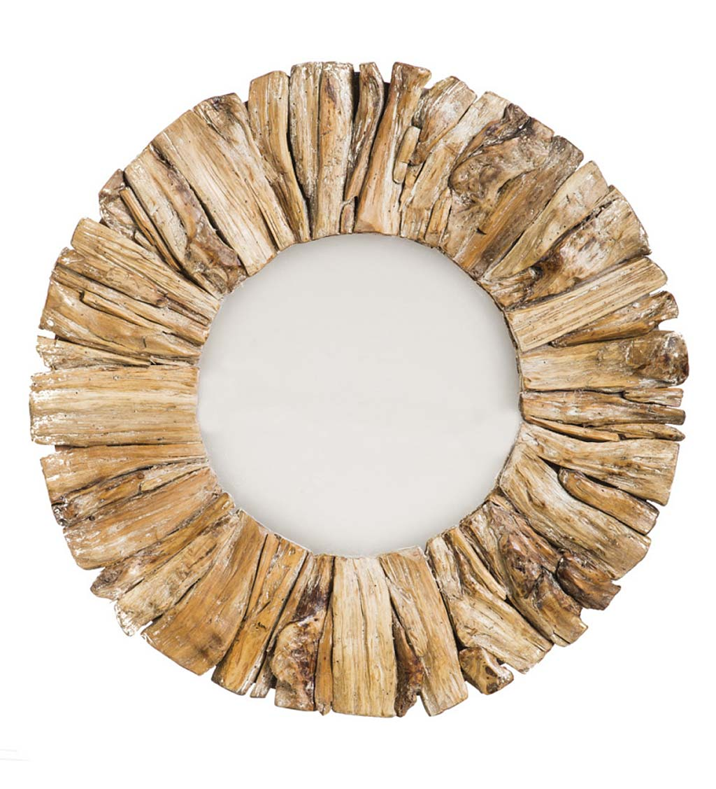 Circular Drift Wood Mirror