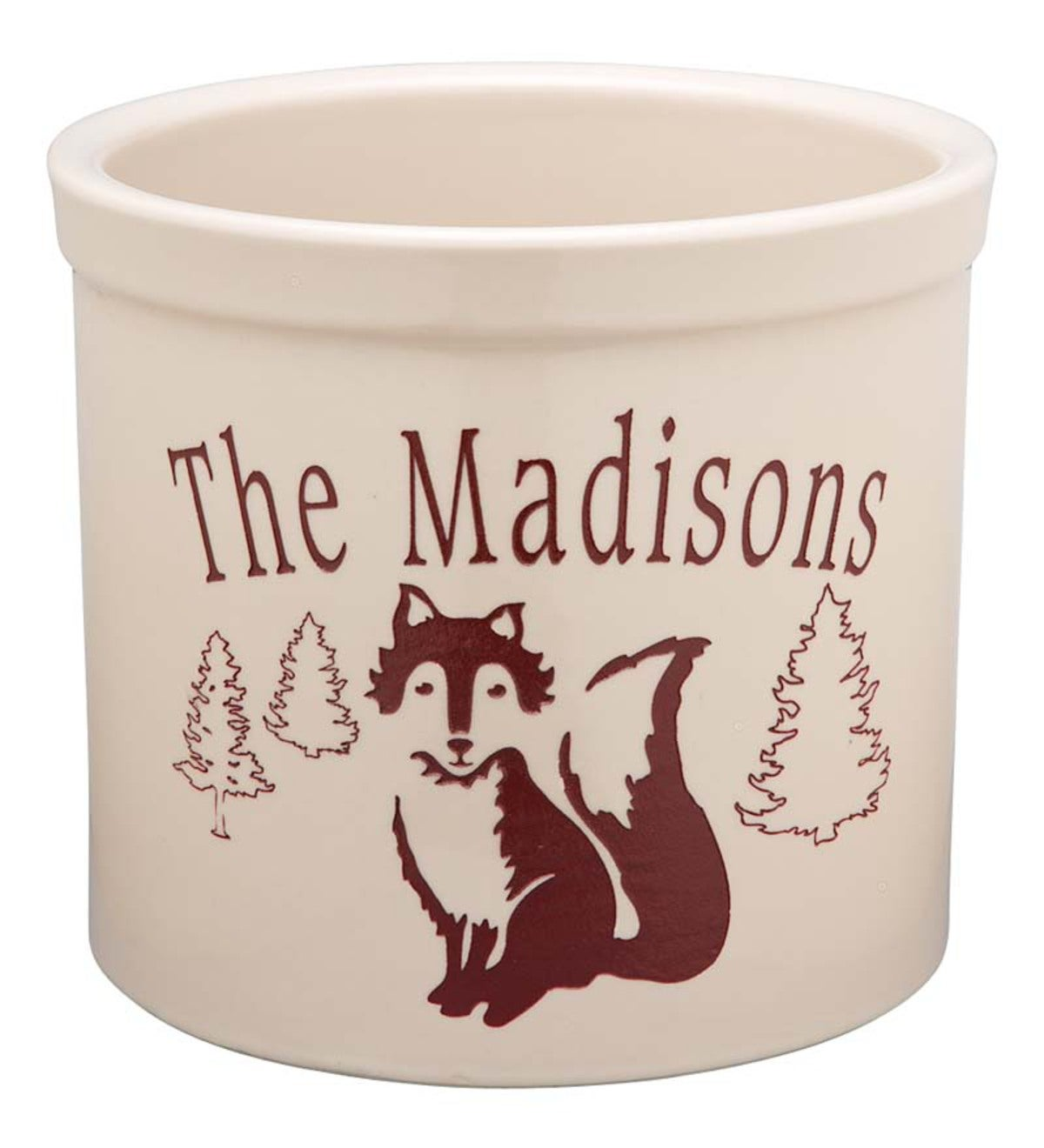 USA-Made Handcrafted Personalized Ceramic Fox Crock