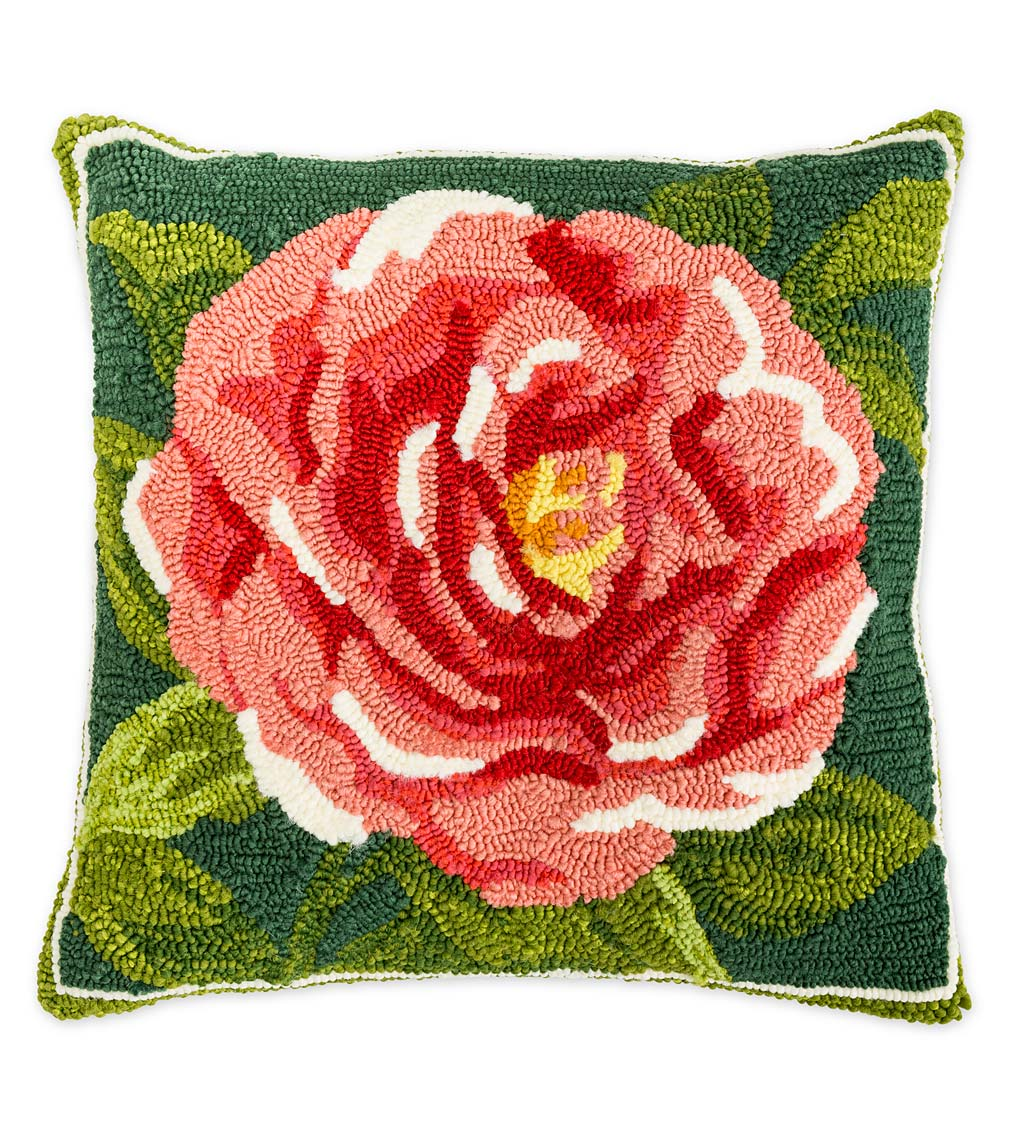 Indoor Outdoor Antique Rose Hooked Polypropylene Throw Pillow Plowhearth