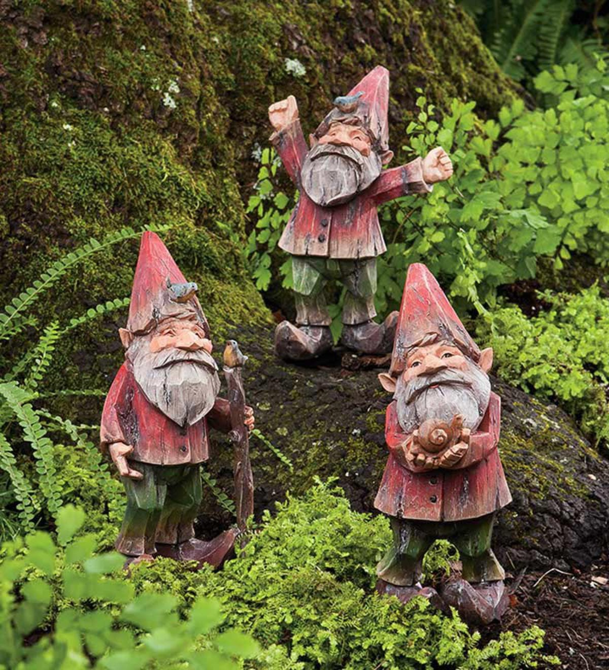 gnome garden decor.htm set of 3 painted woodland gnomes plowhearth  set of 3 painted woodland gnomes