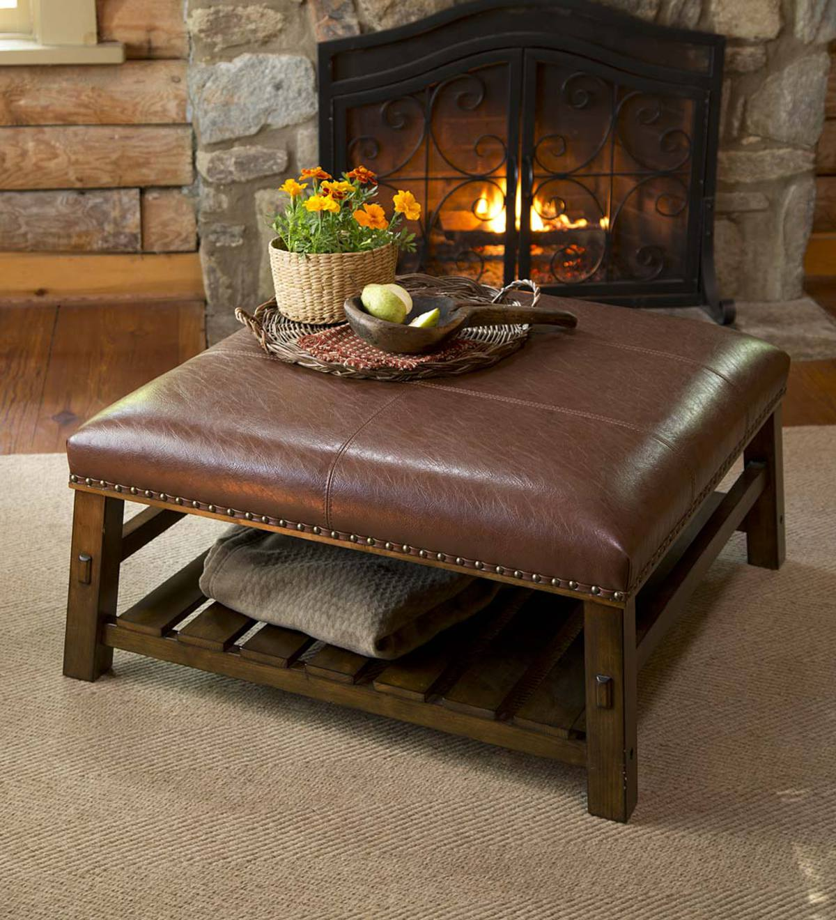 Canyon Leather Coffee Table Plowhearth