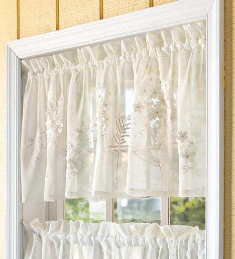 Embroidered Hydrangea Sheer Valance